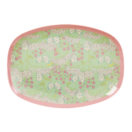 RICE Rectangular Melamine Plate with Butterfly and Flower Print