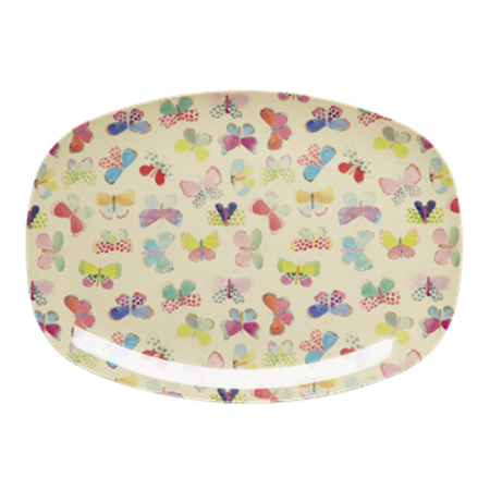 RICE Rectangular Melamine Plate with Butterfly Print MELPL-BUT