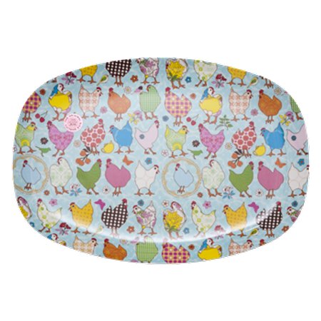 RICE Rectangular Melamine Plate with Hen Print MELPL-HEN
