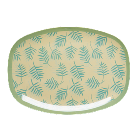 RICE Rectangular Melamine Plate with Palm Leaves Print MELPL-LEA