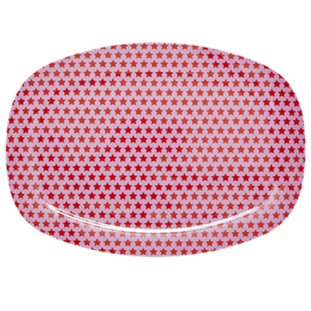 RICE Rectangular Melamine Plate with Red and Pink Star Print MEL