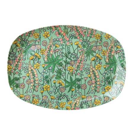 RICE Melamine Rectangular Plate with Lupin Print MELPL-LUPI