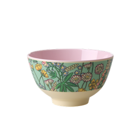 RICE Melamine Bowl with Lupin Print - Two Tone - Small