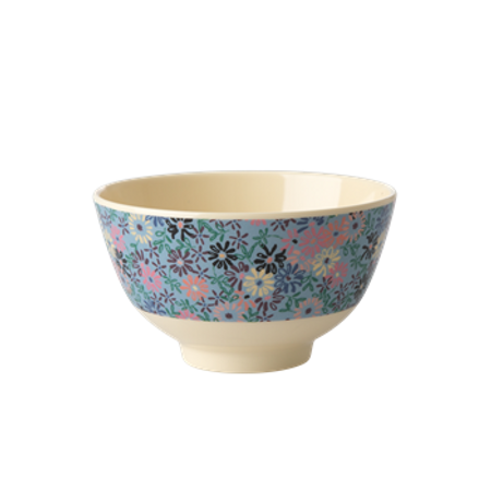RICE Melamine Bowl with Small Flower Print - Two Tone - Small ME