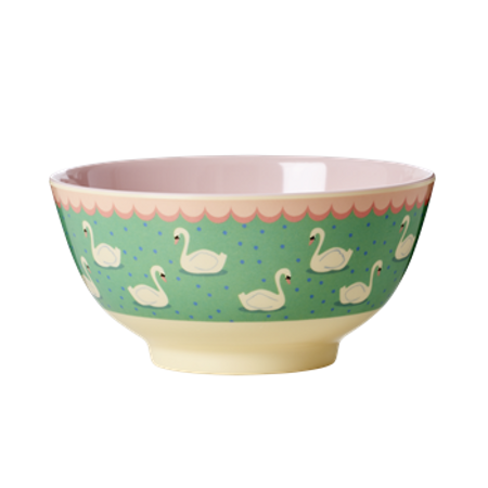 RICE Melamine Bowl Two Tone with Swan Print MELBW-SWAN