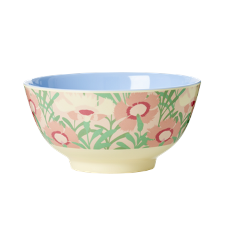 RICE Melamine Bowl Two Tone with Vintage Florals Print MELBW-FLO