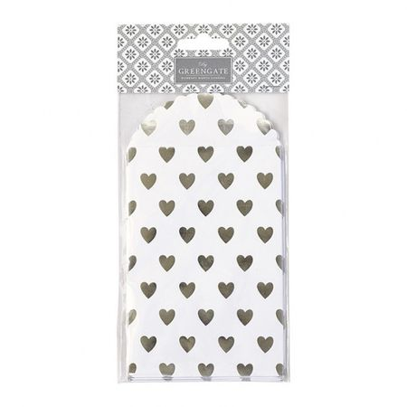 GreenGate gavekonvolutt Haven white with silver hearts