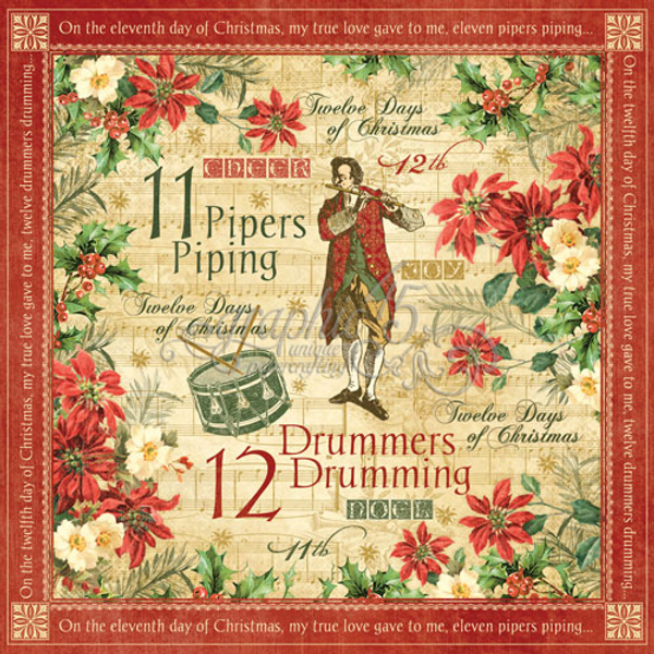 GRAPHIC45: 12 DAYS OF CHRISTMAS - 4500731 - DRUMMERS DRUMMING