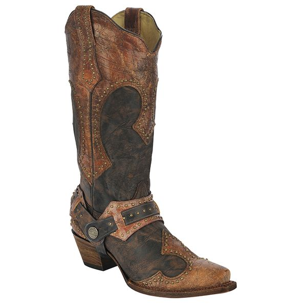 Corral Brown Studded Harness Cowgirl Boots
