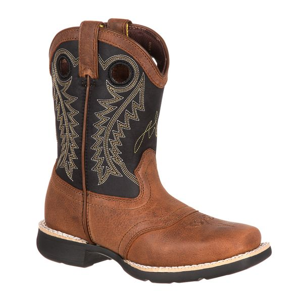 Little Kid Brown Saddle Western Boots