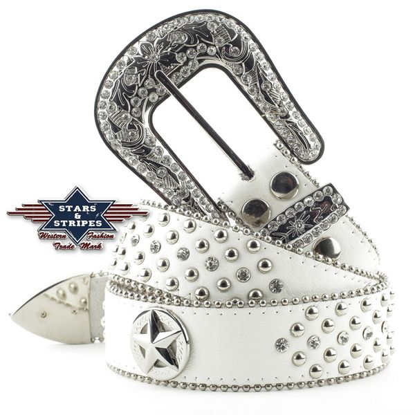 Stars & Stripes Stone 2 White Belte