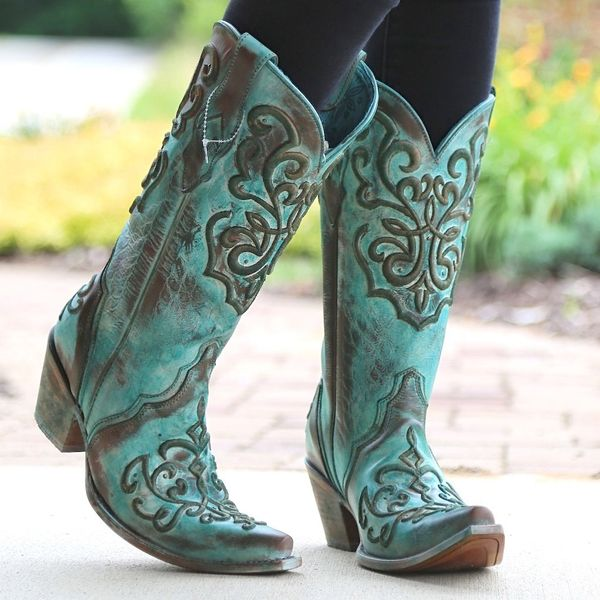 Corral Tan & Turquoise Cowgirl Boots