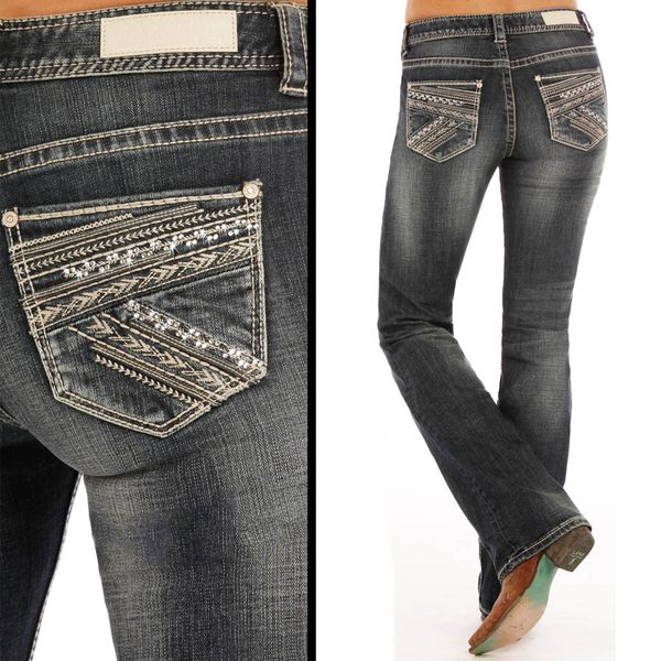 Rock & Roll Cowgirl Aztec Mid Rise BootCut Jeans