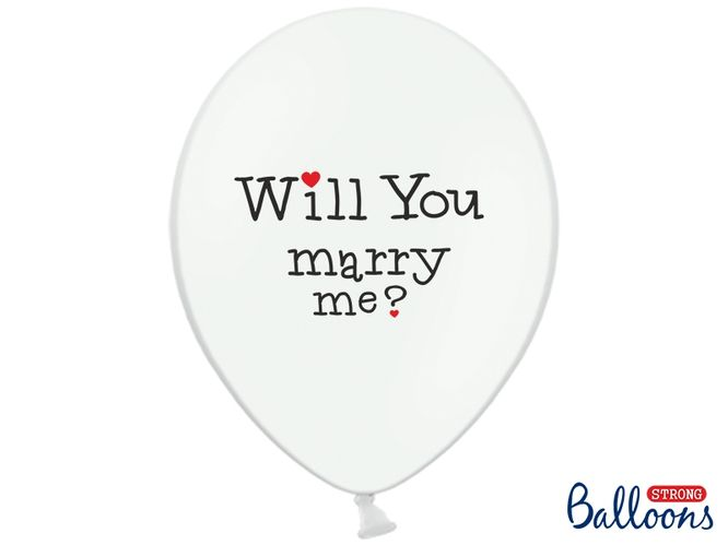 Bilde av Ballonger Will You Marry Me Yes Hvit 6 pk