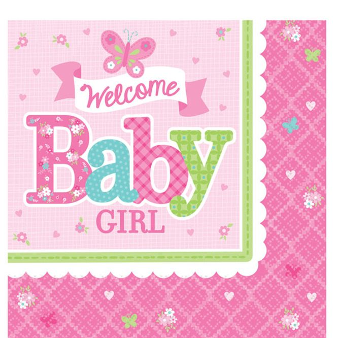 Bilde av Welcome Baby Girl Servietter 16-pk
