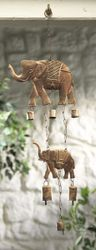 Vindspill Elefanter og bjeller - Windchime with 2 elephants and