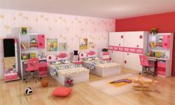غرف نوم صيني اظفال مفرد سريرين لون وردي