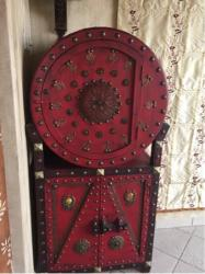 red wooden cabinet