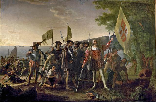 Columbus ankomst til India… nei, Amerika i 1492. (Foto: Landing of Columbus by John Vanderlyn, via public domain: http://commons.wikimedia.org/wiki/File:Landing_of_Columbus_(2).jpg#mediaviewer/File:Landing_of_Columbus_(2).jpg
