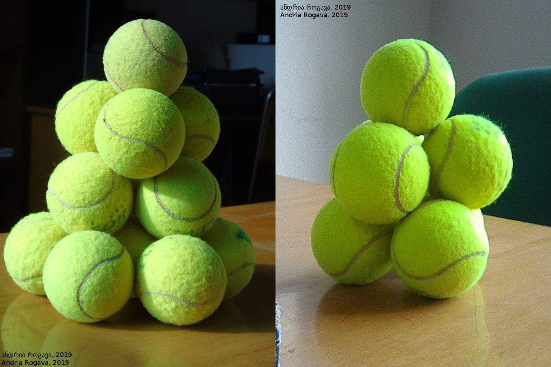 torens van 7 en 14 tennisballen