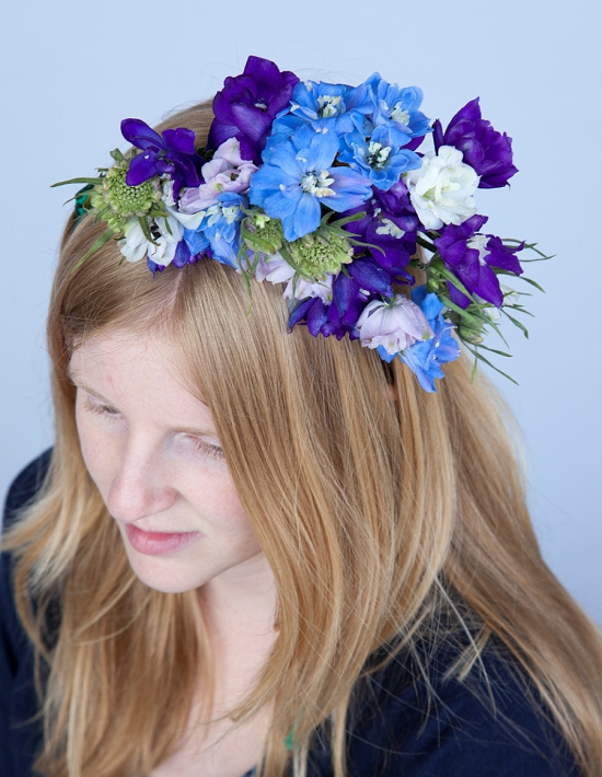 Delphinium flowers in a headdress