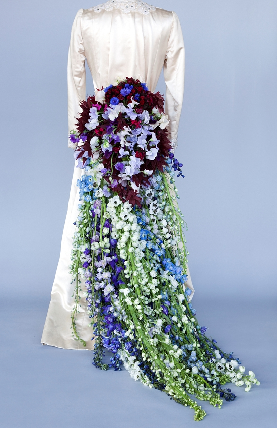Rebel Rebel's magnificent train of delphiniums on a wedding dress