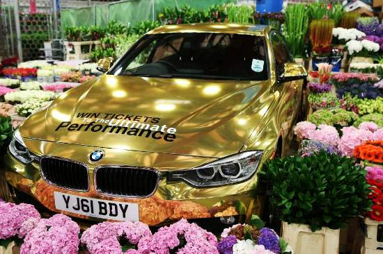 Golden BMW at New Covent Garden Market