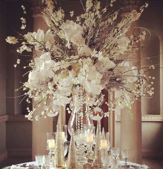 Mary Jane Vaughan white centrepiece