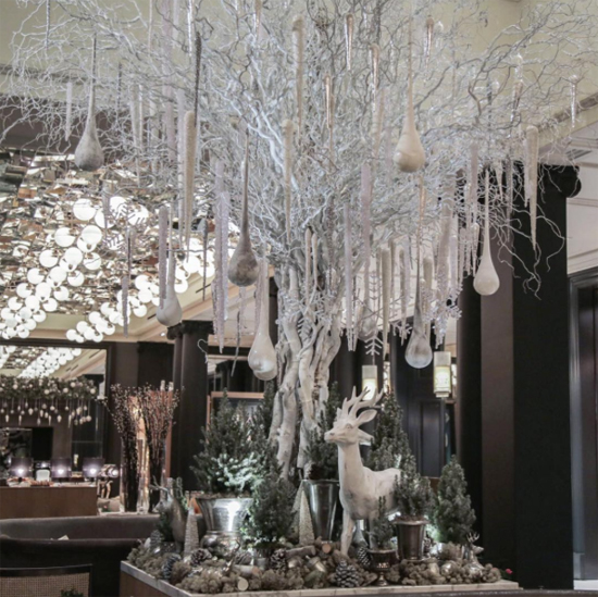 McQueens white tree installation at The Rosewood, London