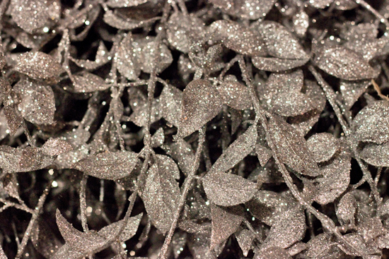 Sparkly silver and gold artificial foliage at New Covent Garden Flower Market - Christmas 2013