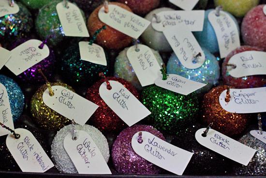 Multicoloured glittery fruit at New Covent Garden Flower Market - Christmas 2013