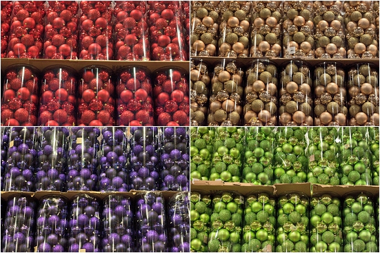 Round multicoloured baubles at New Covent Garden Flower Market - Christmas 2013