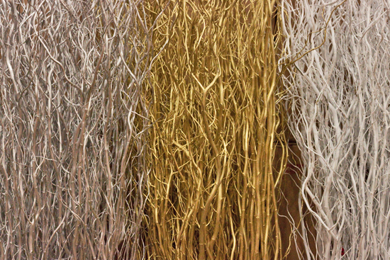 Silver, white and gold willow at New Covent Garden Flower Market - Christmas 2013