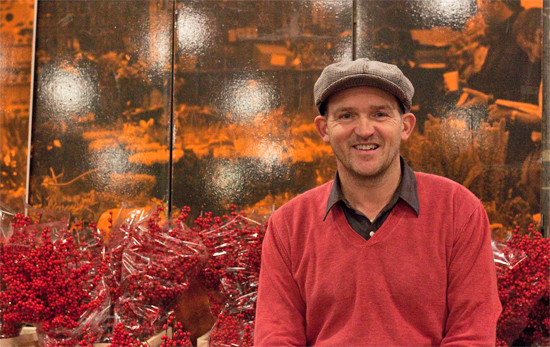 Edwin at Dennis Edwards Flowers and ilex at New Covent Garden Flower Market - Christmas 2013