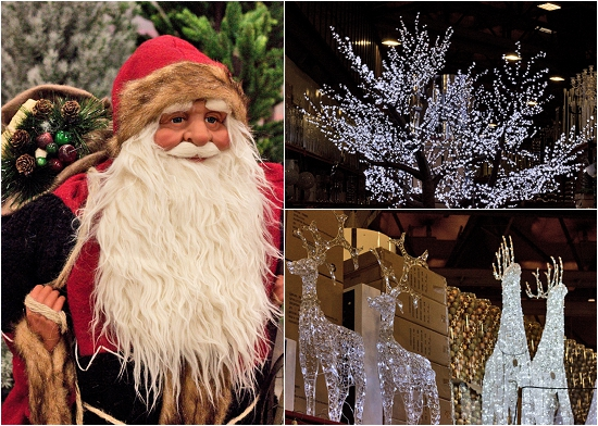 Father Christmas, sparkly tree and reindeer at New Covent Garden Flower Market - Christmas 2013