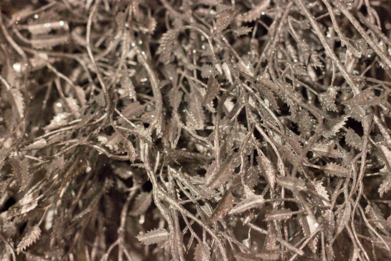 Sparkly silver artificial foliage at New Covent Garden Flower Market - Christmas 2013