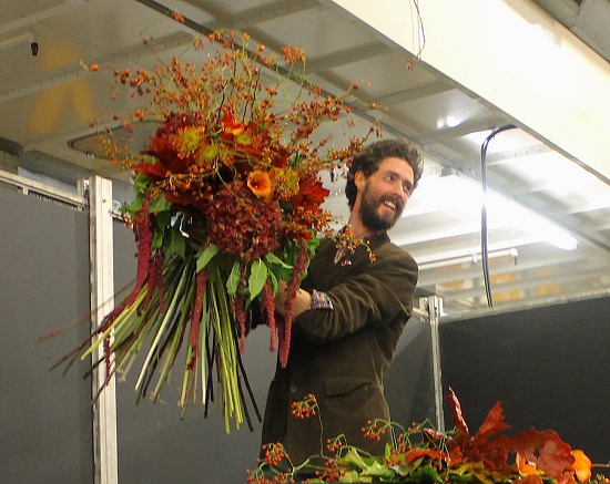 Francis with hand tie final at New Covent Garden Flower Market College Day - 2014