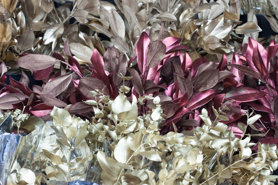 Metallic foliage at New Covent Garden Flower Market - Christmas 2015