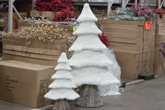 White fluffy Christmas trees at New Covent Garden Flower Market - Christmas 2015
