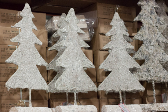 White model Christmas trees at New Covent Garden Flower Market - Christmas 2015