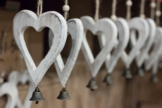White wooden hearts at New Covent Garden Flower Market - Christmas 2015