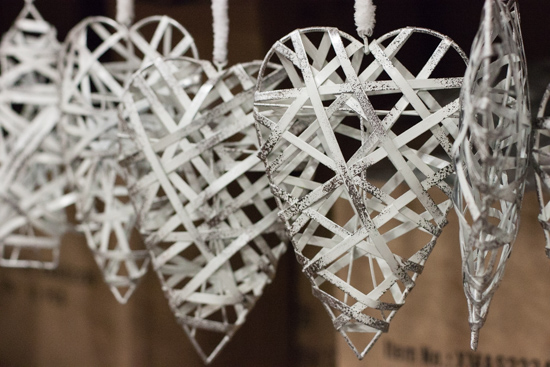 White metal hearts at New Covent Garden Flower Market - Christmas 2015