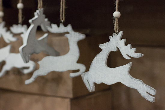 White wooden reindeer at New Covent Garden Flower Market - Christmas 2015