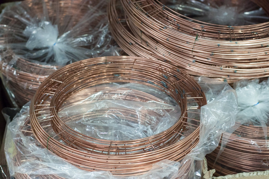 Copper flat wire wreath rings at New Covent Garden Flower Market - Christmas 2015