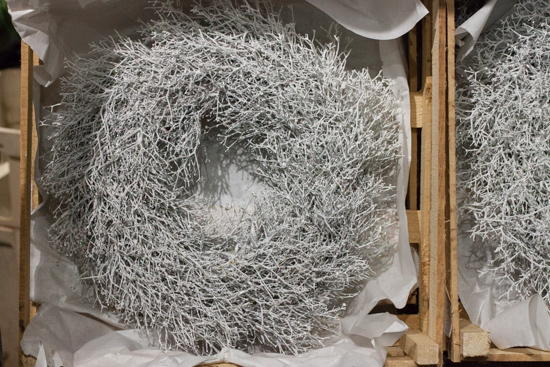 White twig wreaths at New Covent Garden Flower Market - Christmas 2015