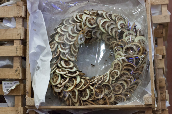 Dried fruit wreath at New Covent Garden Flower Market - Christmas 2015
