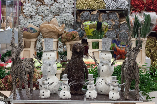 Mixed reindeer and snowmen at New Covent Garden Flower Market - Christmas 2015
