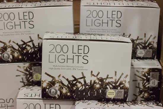 White LED lights at New Covent Garden Flower Market - Christmas 2015