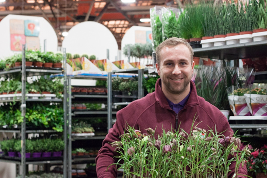 Dean at Quality Plants with potted Fritillaria meleagris at New Covent Garden Flower Market - April 2015