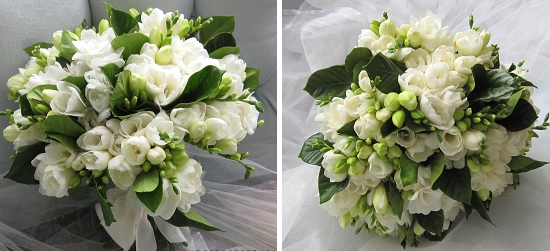 Emma Floral Designs with a white freesia bouquet